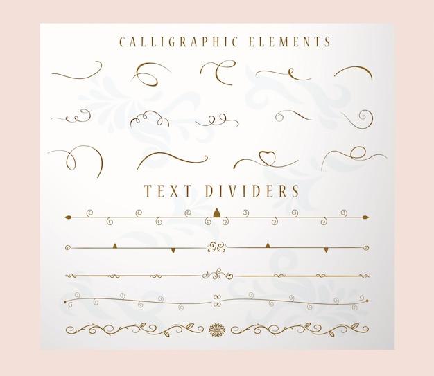 Dibujado a mano divisor de texto y colección y