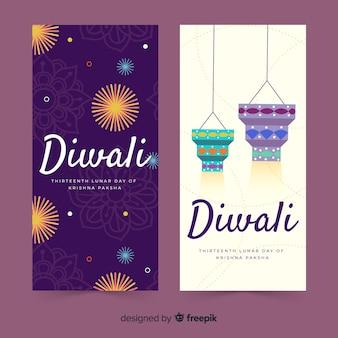 Dibujado a mano diwali web banners