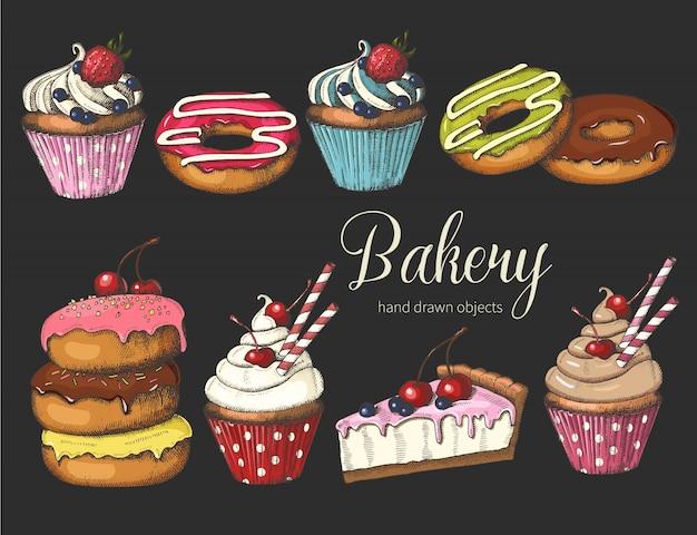 Dibujado a mano donas glaseadas, pastel y cupcakes.