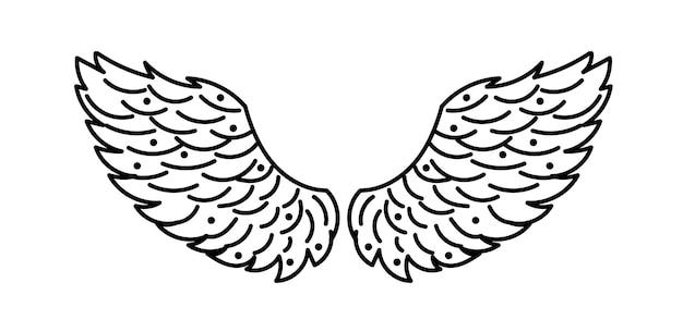 Dibujado a mano doodle alas de ángel