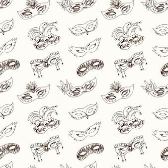 Dibujado a mano doodle carnaval máscaras de patrones sin fisuras