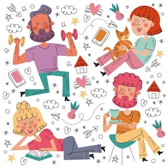 Dibujado a mano doodle colección stay home