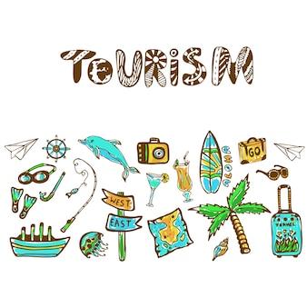 Dibujado a mano doodle conjunto con icono de vacaciones de verano. fondo de vector de turismo. banner o póster, plantilla de viaje