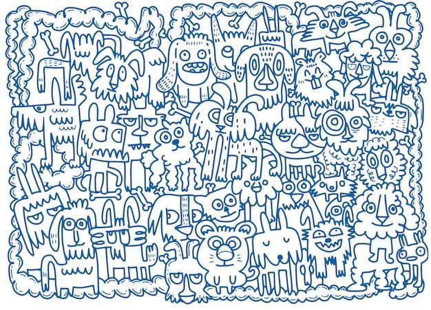Dibujado a mano doodle conjunto de perros divertidos
