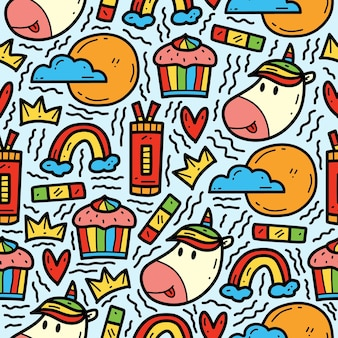 Dibujado a mano doodle dibujos animados unicornio lindo dibujo diseño de patrón