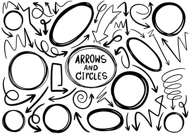 Dibujado a mano doodle diseño círculos elementos. flechas dibujadas a mano