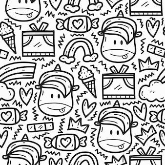 Dibujado a mano doodle diseño de patrón de unicornio de dibujos animados