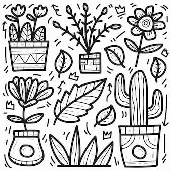 Dibujado a mano doodle diseño de planta de dibujos animados lindo