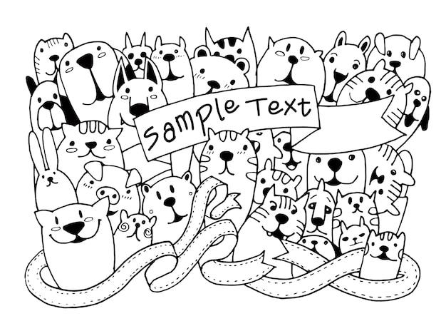 Dibujado a mano doodle divertido conjunto de mascotas