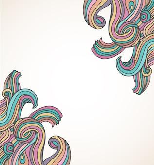 Dibujado a mano, doodle, fondo hippie y tarjeta