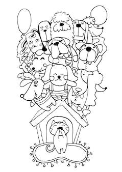Dibujado a mano doodle fondo del perro cachorro