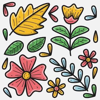 Dibujado a mano doodle ilustración floral