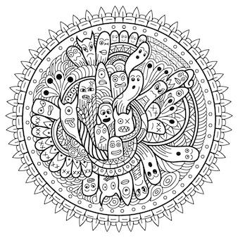 Dibujado a mano de doodle lindo monstruo