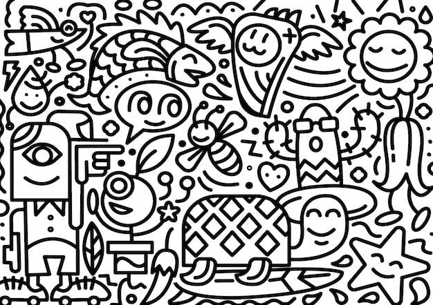 Dibujado a mano doodle línea postal aislado