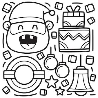 Dibujado a mano doodle navidad para colorear