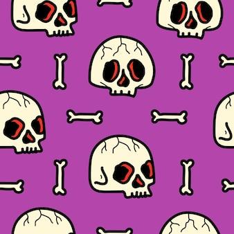 Dibujado a mano doodle patrón personaje de dibujos animados diseño de cráneo
