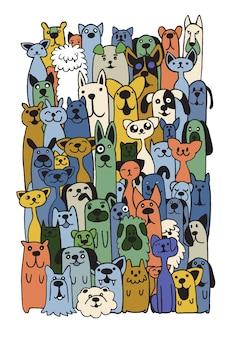 Dibujado a mano doodle perros divertidos y conjunto de gatos