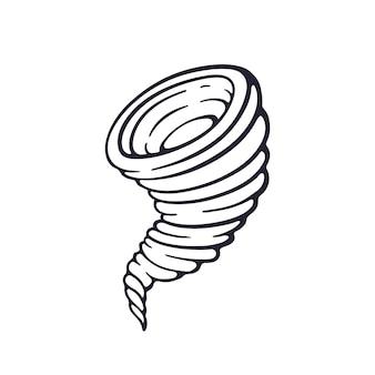 Dibujado a mano doodle de tornado remolino embudo de huracán torbellino tormenta ilustración vectorial