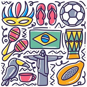 Dibujado a mano doodle vacaciones de brasil con iconos y elementos de diseño