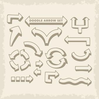 Dibujado a mano doodle vector flechas conjunto
