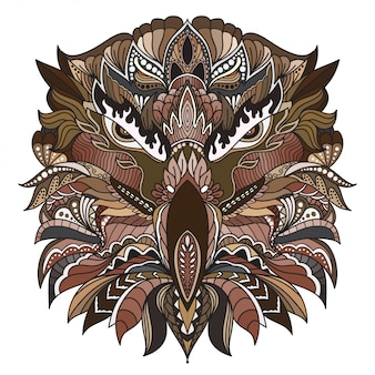 Dibujado a mano doodle zentangle cabeza de águila ilustración-vector.