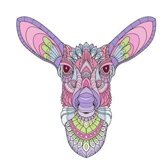 Dibujado a mano doodle zentangle ciervos ilustración vectorial