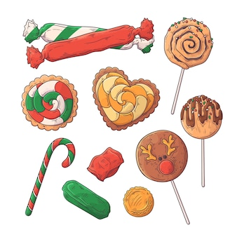 Dibujado a mano dulces navideños.