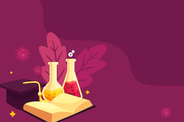 Dibujado a mano la educación científica con espacio de copia