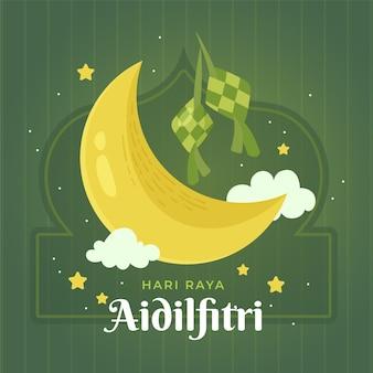 Dibujado a mano eid al-fitr - hari raya aidilfitri ilustración