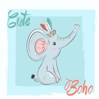Dibujado a mano elefante boho lindo elefante