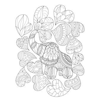 Dibujado a mano elefante y corazón