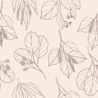 Dibujado a mano elegante de patrones sin fisuras con rama de árbol