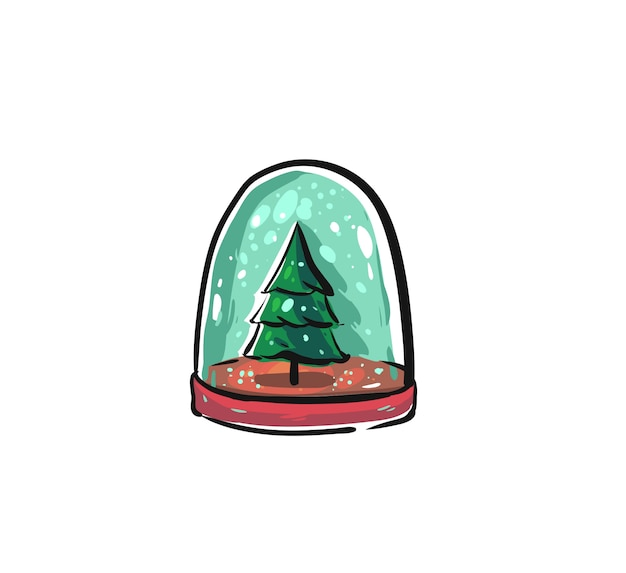 Dibujado a mano elemento de diseño de ilustración gráfica de dibujos animados feliz navidad tiempo con bola de globo de nieve con árbol de navidad aislado en blanco