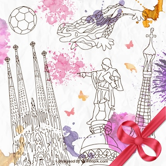 Dibujado a mano elementos de barcelona