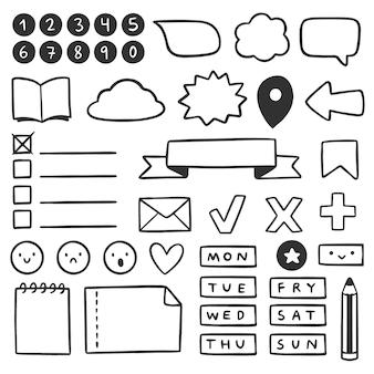 Dibujado a mano elementos de bullet journal