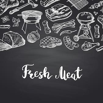 Dibujado a mano elementos de carne con letras. banner menú de carnes para restaurante.