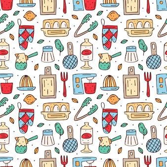 Dibujado a mano elementos de cocina de patrones sin fisuras