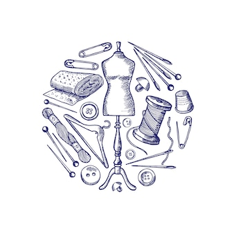 Dibujado a mano elementos de costura se reunieron en ilustración círculo aislado en blanco