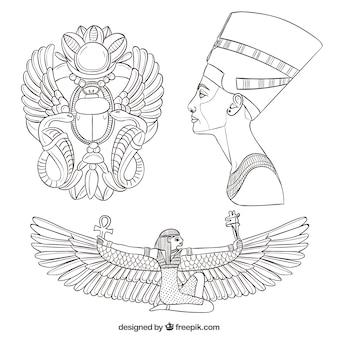 Dibujado a mano elementos de la cultura egipcia