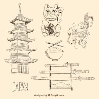 Dibujado a mano elementos de la cultura japonesa