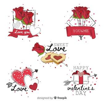 Dibujado a mano de elementos del día de san valentín