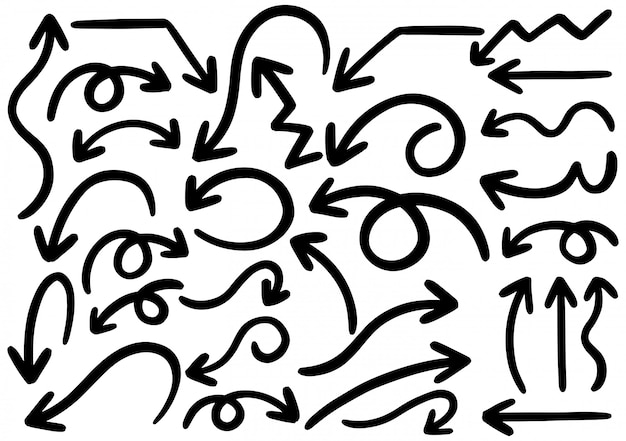 Dibujado a mano elementos de diseño del doodle. dibujado a mano flechas, marcos, bordes, iconos y símbolos.