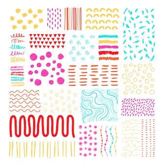 Dibujado a mano elementos de diseño estampado conjunto de vectores