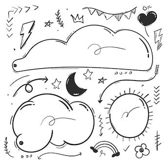 Dibujado a mano elementos de doodle de garabatos abstractos