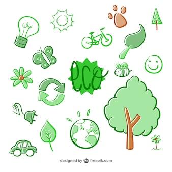 Dibujado a mano elementos eco