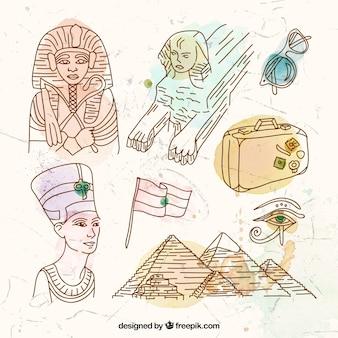 Dibujado a mano elementos egipcio