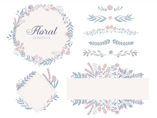 Dibujado a mano elementos florales de decoración, ilustraciones, marcos, divisores de colección.