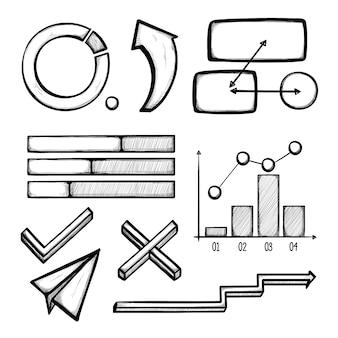 Dibujado a mano elementos de infografía profesional