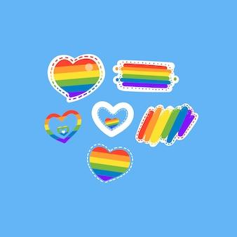 Dibujado a mano elementos lgbt. día del orgullo.