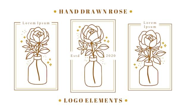 Dibujado a mano elementos de logotipo de belleza femenina de oro con flor rosa, rama de hoja y botella